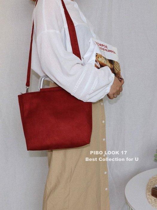 PIBO   韓國 東大門 斜背包包 休閒單肩包 绒面金屬手把手提包 單肩斜背手提女包