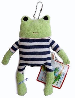 日本愛旅行的青蛙藍格紋S號玩偶吊飾組[新到貨   ]