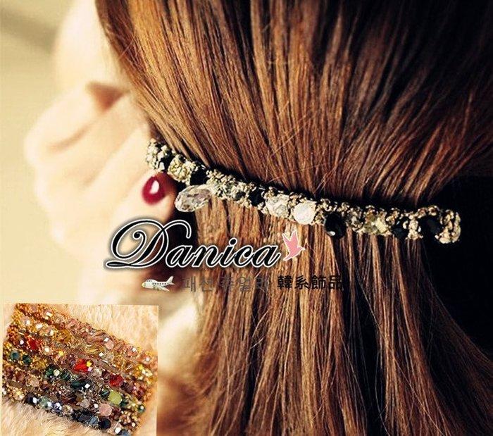 髮飾 現貨韓國熱賣手作 多彩 金線 纏繞 不規則 水晶 髮夾 彈簧夾K7340 單個價 Danica 韓系飾品 韓國連線