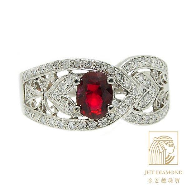 【JHT金宏總珠寶/GIA鑽石專賣】1.01ct紅寶鑽石戒指(R000013)