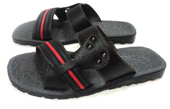 美迪-子母鱷魚BDY5432-套腳拖鞋~黑紅-台灣製~