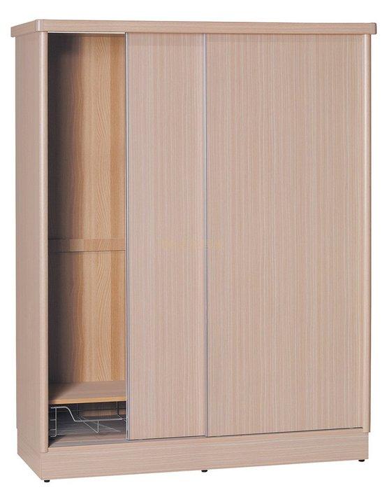 【DH】貨號T4713經典(生活傢)4X7木心板推門衣櫃 含內鏡 ,胡桃色白橡木色柚木色山毛櫸色五色可選擇。特價