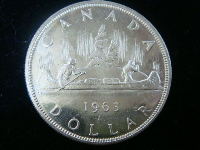 加拿大1963年 獨木舟DOLLAR銀幣.品像AU~UNC.如圖