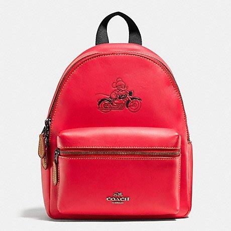 【COACHxDisney】聯名款米奇全皮革素面後背包(紅色)-限量1個
