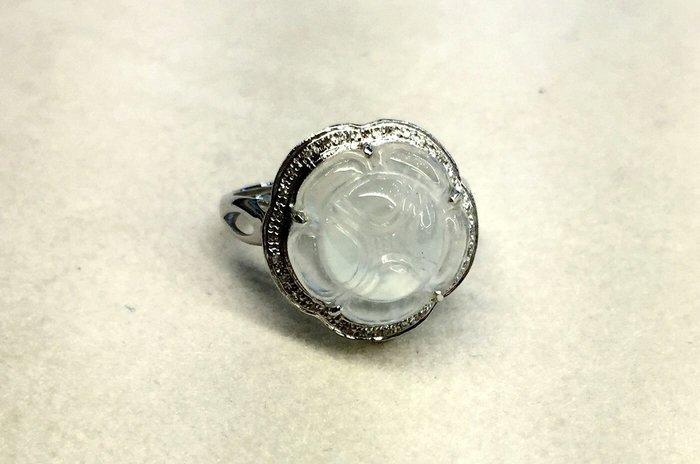 【玉人不俗】翡翠~玻璃種~蓮花~戒指~18K白金~鑲鑽~含鑑定書~『A貨』