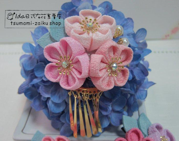 淡粉色三花髮夾 金吊片 日式布花 和風布花 和服髮飾 cosplay 和服 浴衣髮飾 F043