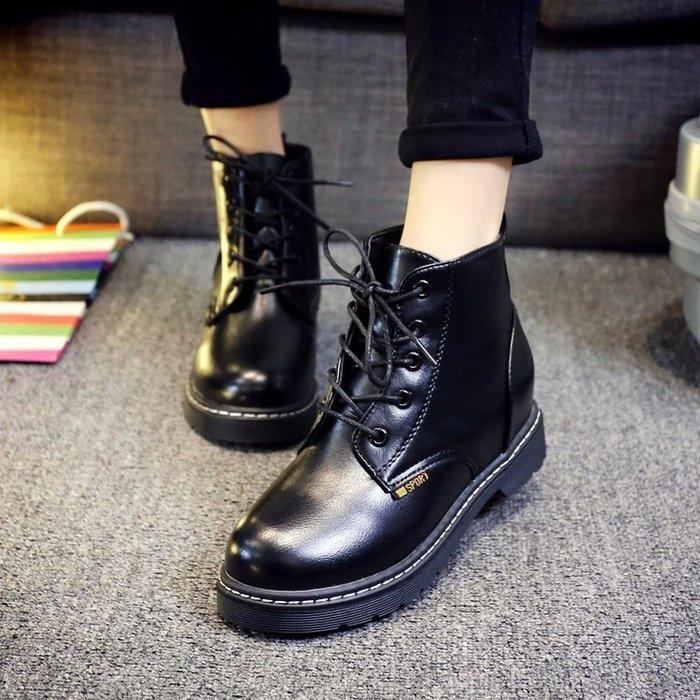 發貨   必買 款馬丁靴女英倫風圓頭學生復古平底系帶短筒短靴春 學院女鞋