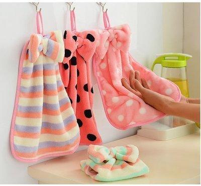 ☜shop go☞【H03】韓國珊瑚絨蝴蝶結掛式擦手巾 擦手巾掛式 可愛創意卡通兒童擦手巾 強水力超強不掉毛 廚房毛巾抹