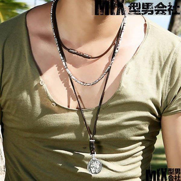 【MIX 型男會社】特價新款潮男搭配 外幣吊墜 骷髏硬幣吊墜 牛皮項鍊 時尚掛飾XNHS006