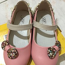 女童蝴蝶結拼布粉紅色蕾絲娃娃皮鞋 真皮鞋墊 490元 降價 190