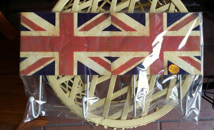 美生活館 --- 全新 可愛 木製 英國國旗 熊 HOME 四掛勾/衣勾/杯勾---居家/店面/擺飾/民宿-多款可選