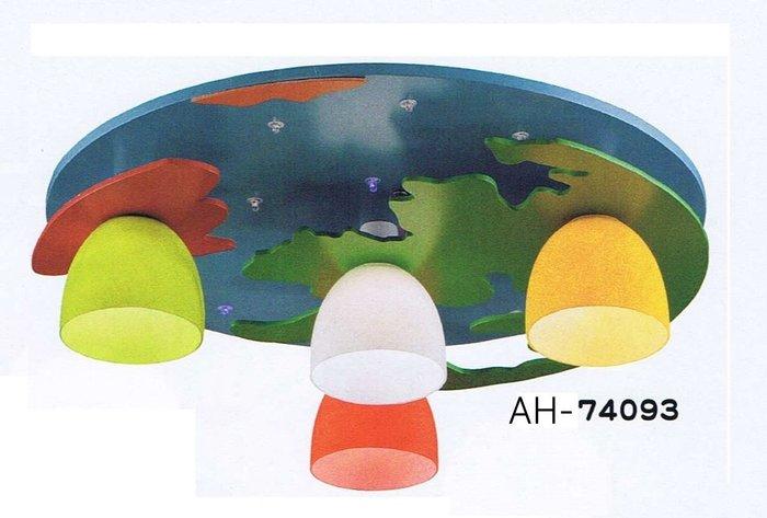 【昶玖照明LED】吸頂燈系列 E27 LED 居家臥室 客廳陽台 書房玄關餐廳 木質 玻璃 4燈 AH-74093