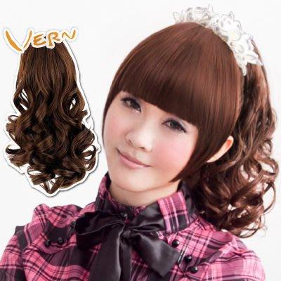 韋恩捲髮馬尾-捲假髮-鯊魚夾鬈髮馬尾--單馬尾造型-快速接髮增髮量-日本高仿真-Vernhair【VH10701】