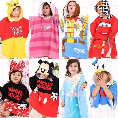 【Kathie Shop】迪士尼Disney兒童多款連帶帽浴巾寶寶純棉紗布巾斗篷沙灘披風浴袍浴巾毛巾