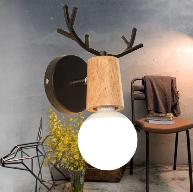 北歐簡約實木麋鹿可愛造型壁燈 工業風LOFT客廳陽台走廊書房梯間兒童臥室黑白實木牆壁燈飾 by 我型我色