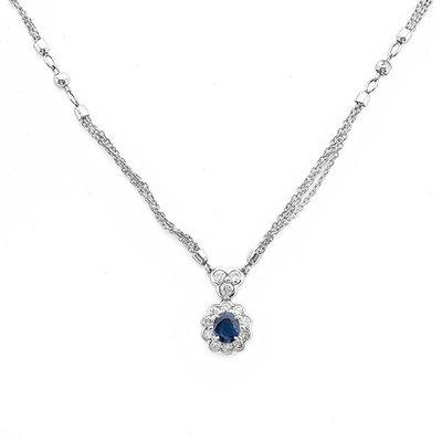 【JHT 金宏總珠寶/GIA鑽石專賣】天然藍寶鑽石項鍊/材質:PT(JB21-D24)
