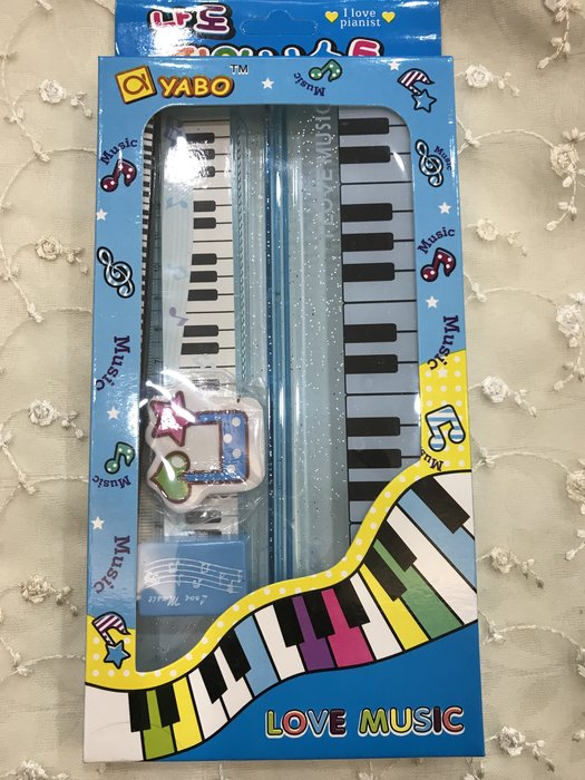 ~桃園  中壢 三一樂器~音樂 文具組藍色 共三色  筆盒 鉛筆 削筆器 筆套 鋼琴橡皮擦