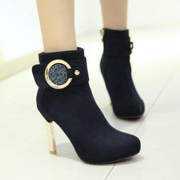 yes99buy加盟-水鑽側拉鏈높은超高跟短筒女靴