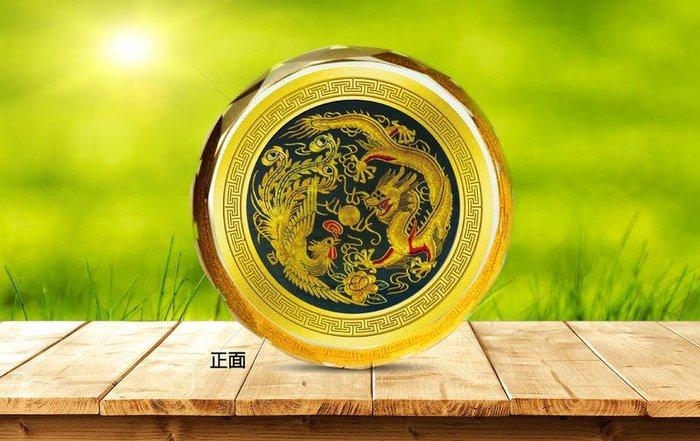 祥瑞龍鳳和鳴 龍鳳呈祥 純金水晶文鎮 可 、收藏、送禮、祝賀、禮贈品 滿額