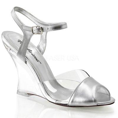 Shoes InStyle《四吋》美國品牌 FABULICIOUS 原廠正品透明金屬質感楔型高跟涼鞋 出清『銀色』