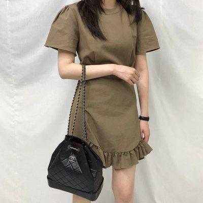 復古chic可愛 裙擺木耳邊皺褶好質感收腰夏季連身裙#1295