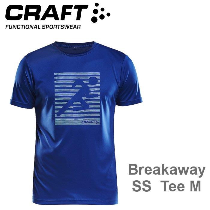【速捷戶外】瑞典CRAFT 1906034 男意象圖騰短袖排汗衣(藍),跑步,路跑,登山,排汗衣