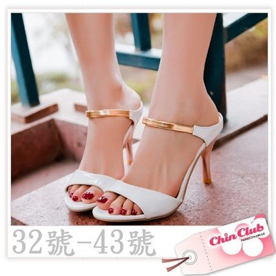 32 33大尺碼小尺碼圓頭高跟涼鞋 拖鞋 亮麗拼色簡約風高跟鞋41☆↖ChinClub↗☆[6845]預購