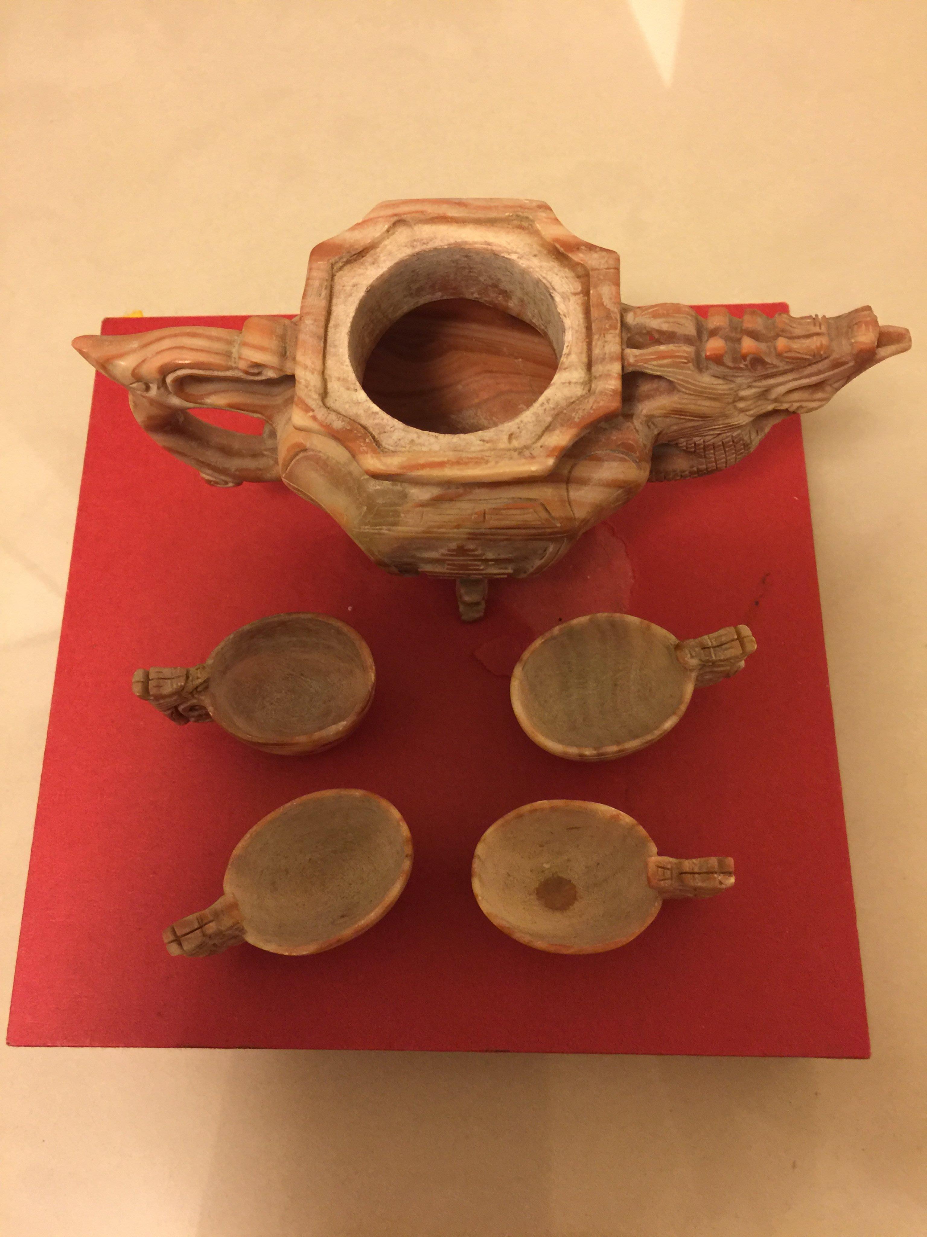 大理石茶壺擺件「如圖」