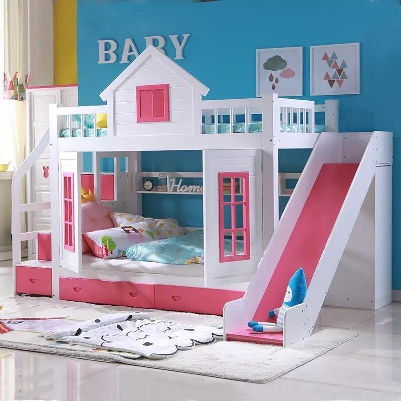 「免運送安裝」城堡溜滑梯 粉紅 小木屋 雙人 兒童雙層床 上下床 子母床 (小蘋果家具)