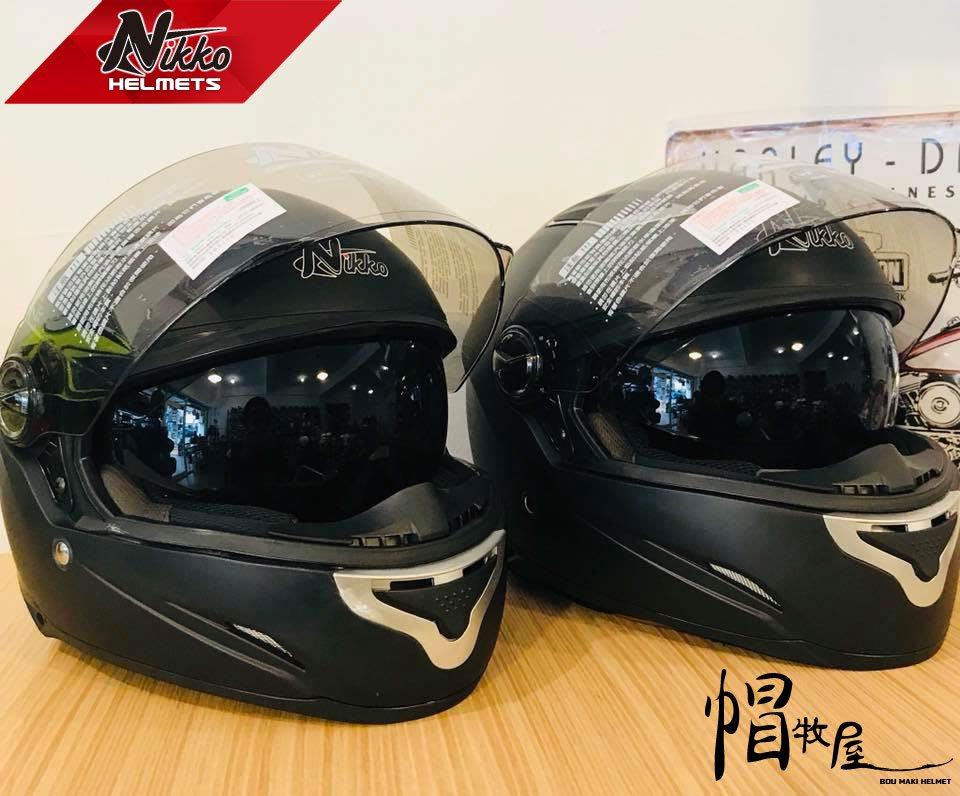 【帽牧屋】NIKKO N-802 全罩式安全帽 內襯全可拆洗 內藏墨片 小帽體 通風 黑色