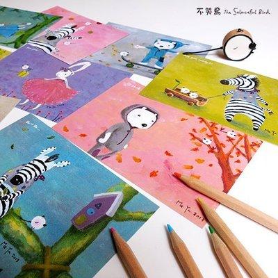 卡片 明信片*飛進森林系列-全套9張*不哭鳥