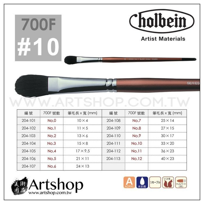 【Artshop美術用品】日本 HOLBEIN 好賓 700F 黑貂水彩筆 (半圓) 10號
