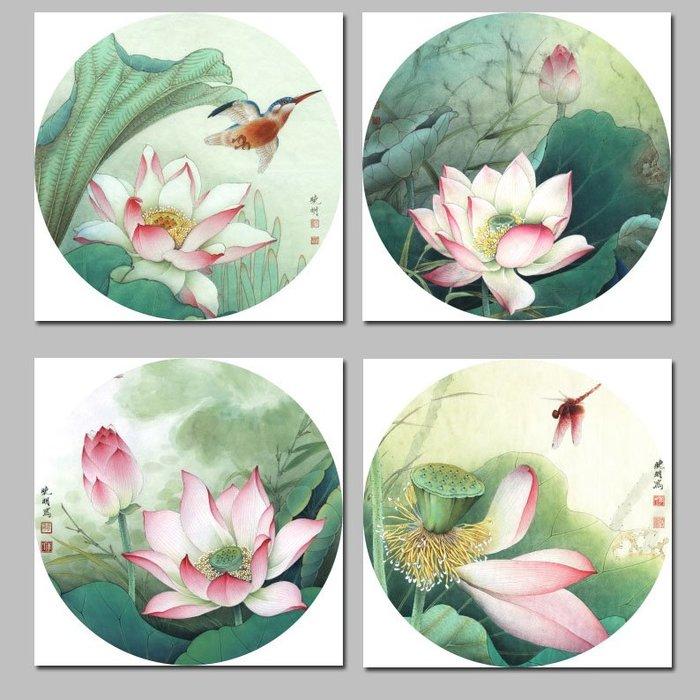 新中式國畫荷花小品荷韻圓形裝飾畫畫芯畫布高清微噴(8款可選)