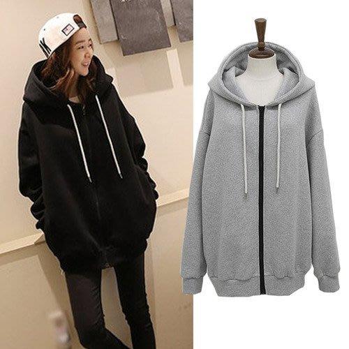 【現貨R】大碼2017冬季加厚純色寬鬆連帽衛衣外套