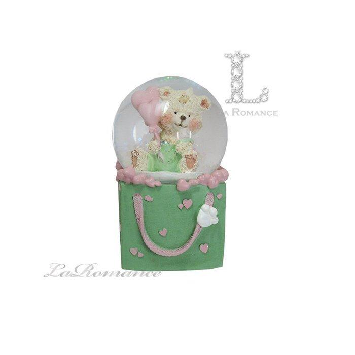【義大利 EDG 特惠系列】 小熊禮物盒水晶球擺飾 (大) / 童趣 / 動物 / 小孩房 / 生日