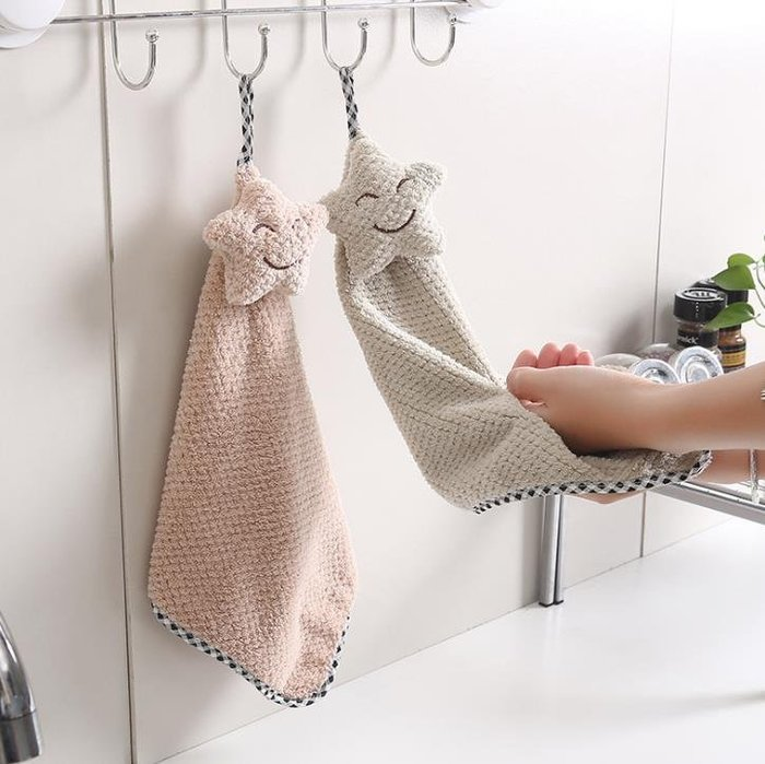 韓式高質感厚底珊瑚絨擦手巾廚房浴室掛式吸水巾 毛巾 超吸水掛式珊瑚绒星星擦手巾擦手布 (咖啡色下單區)