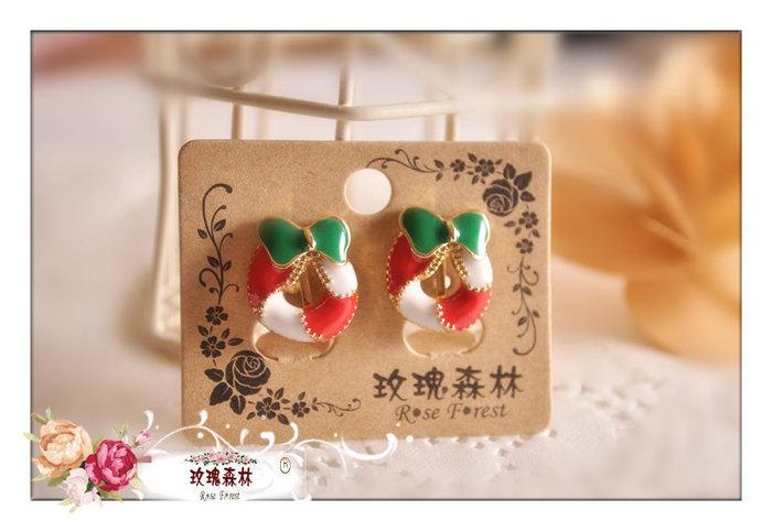 玫瑰森林-- ☆° 美麗嚴選~ Merry  X'MAS 聖誕派對 聖誕環  ^^無耳洞 耳夾款