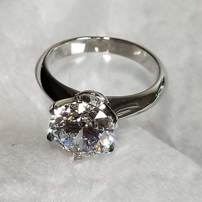 3克拉鑽戒T家六爪鑲鑽戒求婚 結婚 情人節禮物 鑽石純銀包白金戒指 高碳仿真鑽莫桑石  FOREVER鑽寶