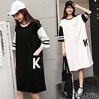 原價 490元 💖 Elbeira【28125】 韓版運動風K字母口袋五分袖長版上衣 洋裝《2色》