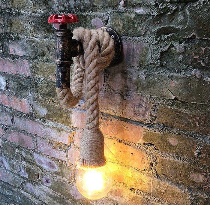 創意美式麻繩複古鐵藝壁燈 Loft工業風走廊樓梯客廳酒吧台服飾店麻繩水管造型壁燈 by 我型我色