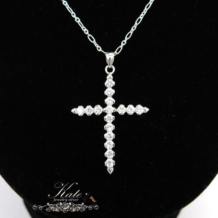 純銀手鍊 銀飾  十字架鑲鑽  3mm閃鑽  簡約個性款  日系設計 925純銀寶石項鍊/生日禮物情人禮/KATE銀飾