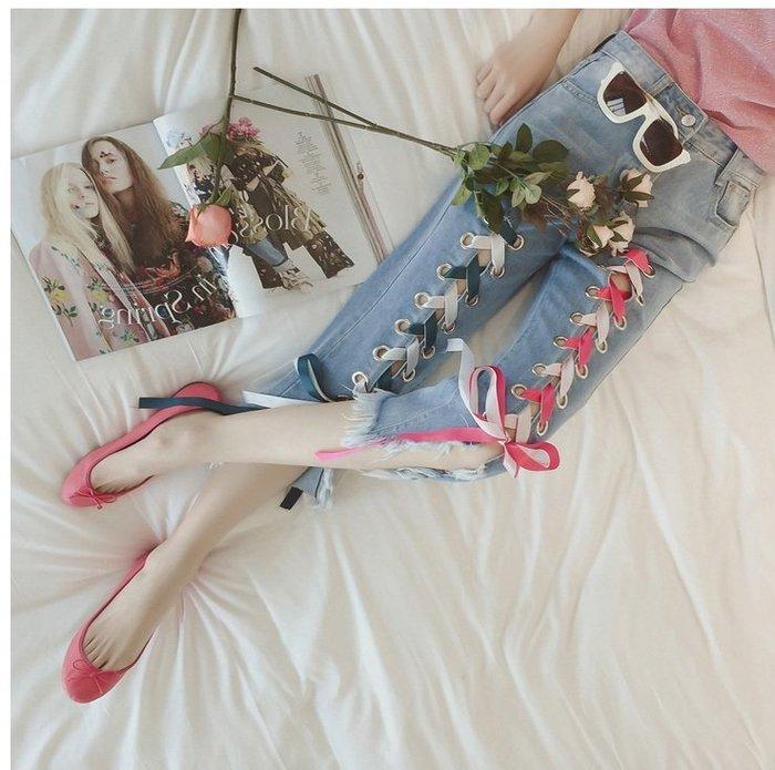 GOGO SHOP☆╭韓彩色綁帶個性牛仔褲 顯瘦寬鬆不規則破洞牛仔褲【Y1995】M-5XL韓系甜美牛仔短褲大尺碼牛仔褲