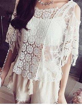 晶華屋--蕾絲網紗針織罩衫小外套 性感...