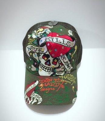 Ed Hardy  帽子 綠色 爪抓 大水鑽 愛殺 車繡 骷髏頭 卡車帽 現貨