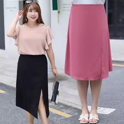 ✿plump girl 氣質✿中大尺碼女裝孕婦裝氣質側開叉半身裙優雅A字裙1217