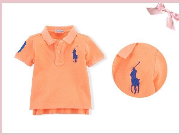 【童夢屋】RALPH LAUREN螢光橘.寶藍大馬短袖polo衫.上衣24M.5T【8897860797】~3