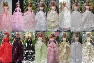 奇異果芭比屋~2件婚紗+5件禮服+4件時裝~600元~贈7雙鞋