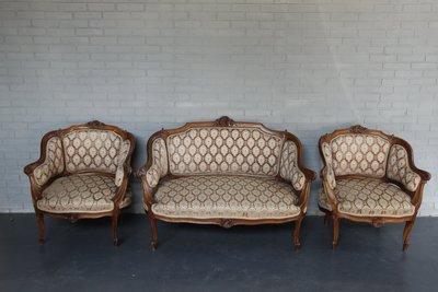 1900s法國路易十五風格 胡桃木沙發...
