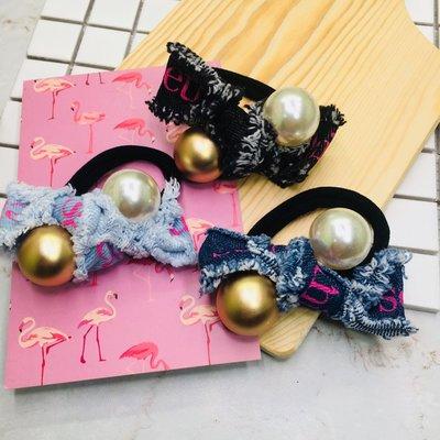 現貨 供應 茉莉 正韓 質感 髮飾 韓國 飾品 三色 黑 淺 深 萬年不敗 丹寧風 珍珠 髮束