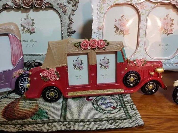 美生活館 全新 鄉村 古典 玫瑰花 車子造型  4 × 6 相框 店面 拍照 婚紗照片 記憶保留 回憶-9